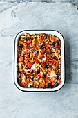 'No Cook' pasta bake with tuna fish and olives