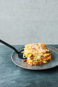 Winter lasagne with savoy cabbage and bacon