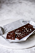 Bitter dark chocolate with salt