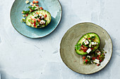 Grilled avocado with feta cheese