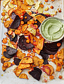 Oven-roasted vegetables with avocado aioli