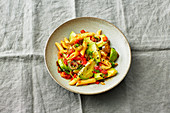 Spicy pepper and avocado penne pasta