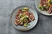 Pork steak with avocado salsa