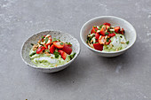 Avocado cream with mint strawberries