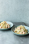 Tagliatelle with salmon and poppyseed and vanilla butter