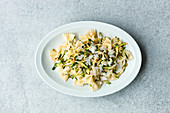 Farfalle with courgette and mint salsa