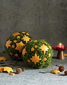 Mooskugel mit Orangensternen