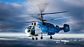 Research helicopter flight in Antarctica