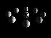 Phases of the Moon as seen from space, illustration