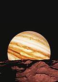 Jupiter from its moon Amalthea, illustration
