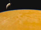 Saturn from Titan, illustration