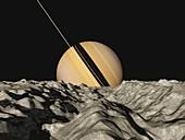 Saturn from Tethys, illustration