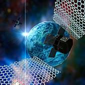 Graphene in space, conceptual illustration