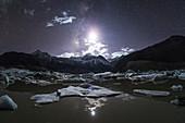 Moon over Laigu Glacier