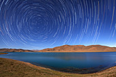 Star trails over Yamdrok Lake