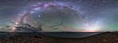 Milky Way and zodiacal light over Lake Namtso