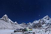 Night sky above Himalayas and Nepalese village