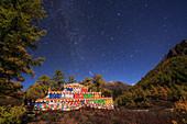 Moonlit night over Tibetan Buddhist building