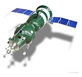 Soyuz 4 spacecraft with docking mechanism, illustration
