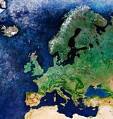 Europe, Sentinel-3A satellite image