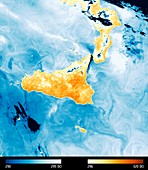 Sicily, Sentinel-3B thermal-infrared satellite image