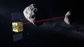 Hera spacecraft at Didymos binary asteroid, illustration