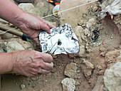 Charred deposit analysis at Neanderthal excavation site