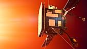 Solar Orbiter spacecraft at the Sun, illustration