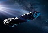 Interstellar comet 'Oumuamua, illustration