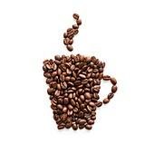 Coffee beans in mug shape