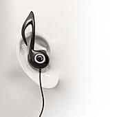 Listening to music, conceptual illustration