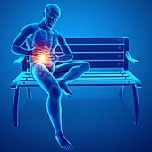 Man with abdominal pain, illustration