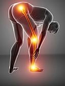 Man with knee pain, illustration