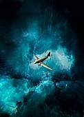 Vintage aeroplane in storm over rough sea, illustration