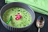 Cream of chard soup with spring onions