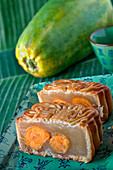 A moon cake, Chinese cake for the Luna festival, sliced