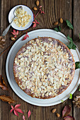 Quick, easy apple and almond cake