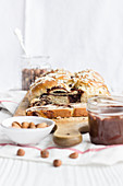 Yeast plait with homemade chocolate spread