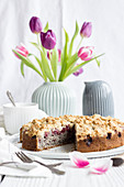 Poppyseed and cherry crumble cake