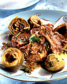 Lamb with artichoke hearts and peppermint