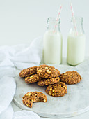 Homemade oat biscuits are best eaten with a glass of milk
