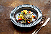 Cod with clams and fennel