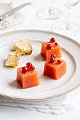 Apple and redcurrant cubes with Occelli cheese