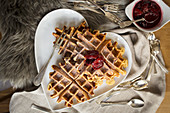 Belgian waffles with plum compote