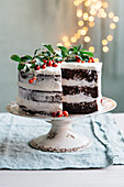 A festive chocolate cake with moscato frosting
