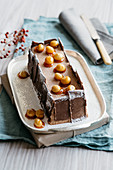 Nut nougat and chocolate semi-freddo with caramelised macadamia nuts