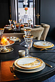 Festively set, candle-lit table
