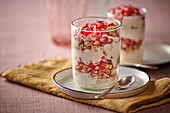 Muesli with cream cheese and pomegranate seeds