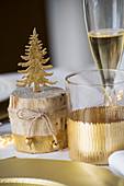 Gilded table and glass decoration for Christmas
