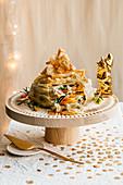 Filloteigkuchen mit Gemüsefüllung und Bitto-Käse